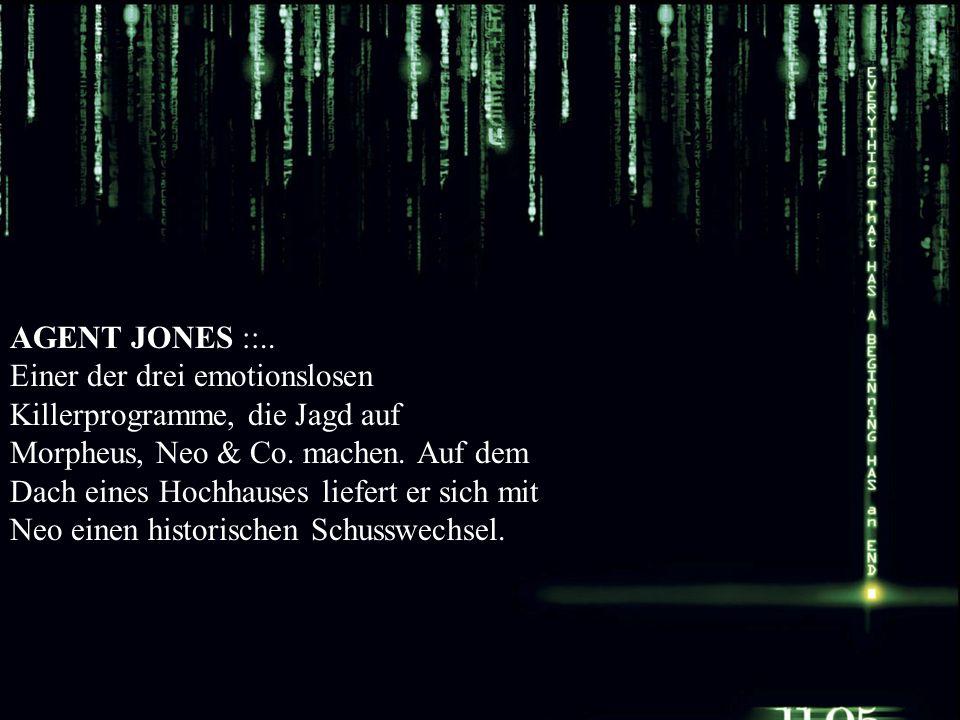AGENT JONES ::.. Einer der drei emotionslosen Killerprogramme, die Jagd auf Morpheus, Neo & Co. machen. Auf dem Dach eines Hochhauses liefert er sich