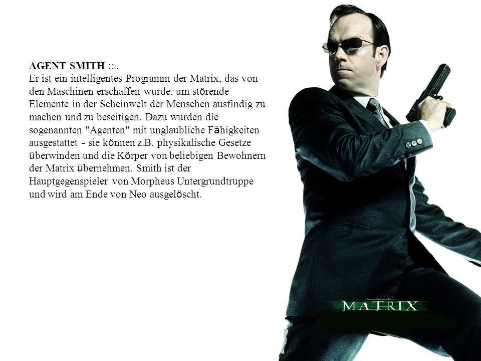 AGENT SMITH ::.. Er ist ein intelligentes Programm der Matrix, das von den Maschinen erschaffen wurde, um st ö rende Elemente in der Scheinwelt der Me