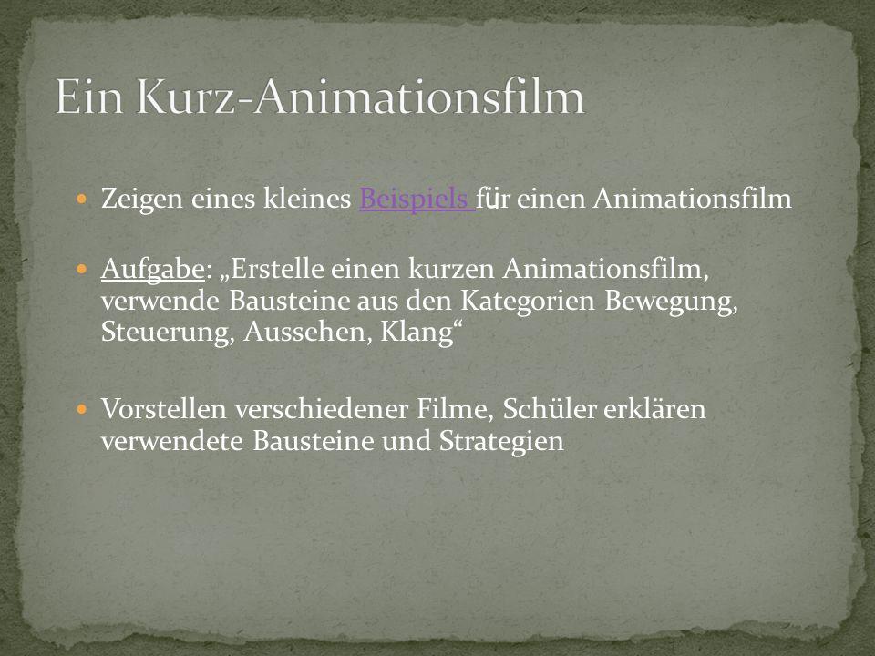 Zeigen eines kleines Beispiels f ü r einen AnimationsfilmBeispiels Aufgabe: Erstelle einen kurzen Animationsfilm, verwende Bausteine aus den Kategorien Bewegung, Steuerung, Aussehen, Klang Vorstellen verschiedener Filme, Schüler erklären verwendete Bausteine und Strategien