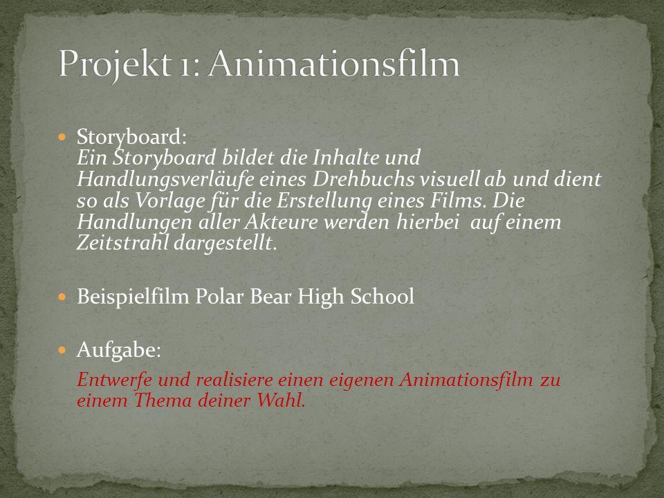 Storyboard: Ein Storyboard bildet die Inhalte und Handlungsverläufe eines Drehbuchs visuell ab und dient so als Vorlage für die Erstellung eines Films.
