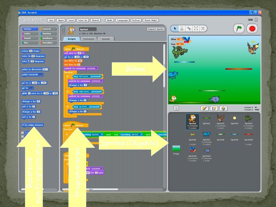 Basiert auf Squeak (Smalltalk) Objektorientierung (teilweise) unterstützt Ausblenden der OO-Ebene möglich Scratch