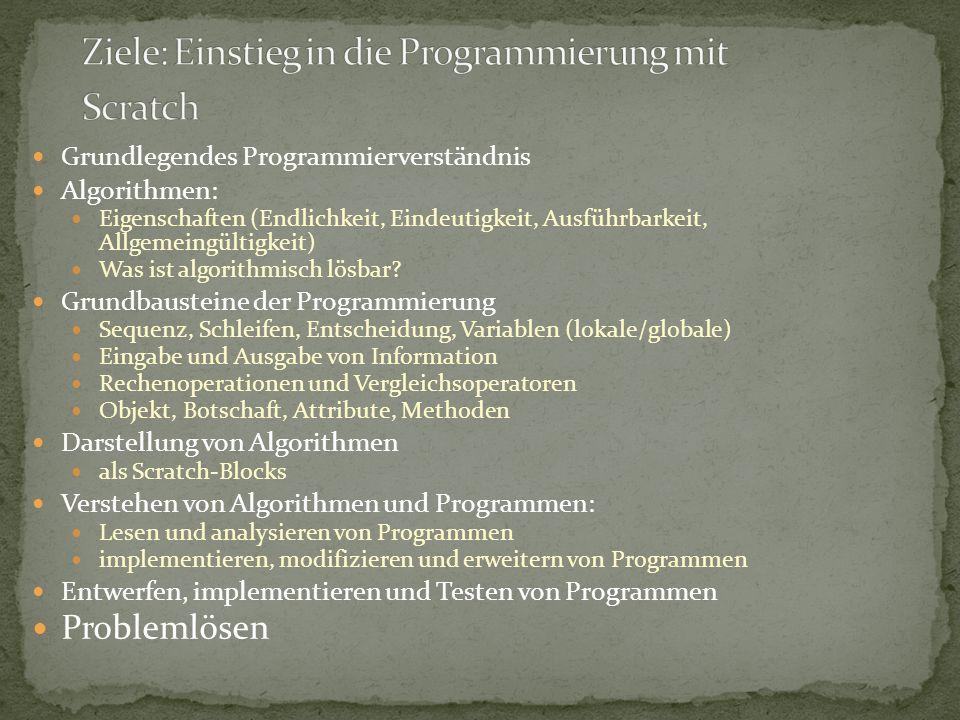 Einführung (Programmierumgebung, Grundlegende Funktionen, Scratch-Hilfe) Verwenden und Bewegen von Objekten.