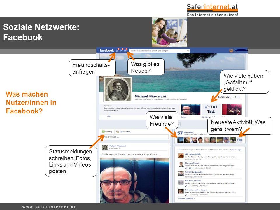 w w w. s a f e r i n t e r n e t. a t Was gibt es Neues? Statusmeldungen schreiben, Fotos, Links und Videos posten Neueste Aktivität: Was gefällt wem?
