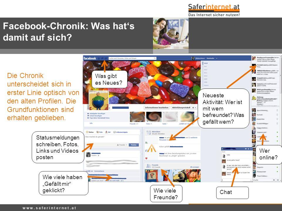 Facebook-Chronik: Was hats damit auf sich? Wie viele haben Gefällt mir geklickt? Statusmeldungen schreiben, Fotos, Links und Videos posten Neueste Akt