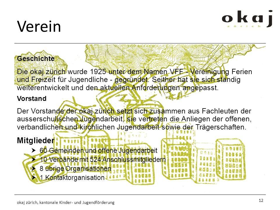 Verein Mitglieder 60 Gemeinden und offene Jugendarbeit 10 Verbände mit 524 Anschlussmitgliedern 8 übrige Organisationen 1 Kontaktorganisation Geschichte Die okaj zürich wurde 1925 unter dem Namen VFF - Vereinigung Ferien und Freizeit für Jugendliche - gegründet.