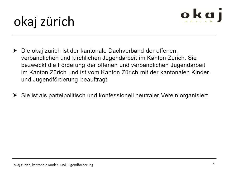 okaj zürich Die okaj zürich ist der kantonale Dachverband der offenen, verbandlichen und kirchlichen Jugendarbeit im Kanton Zürich.