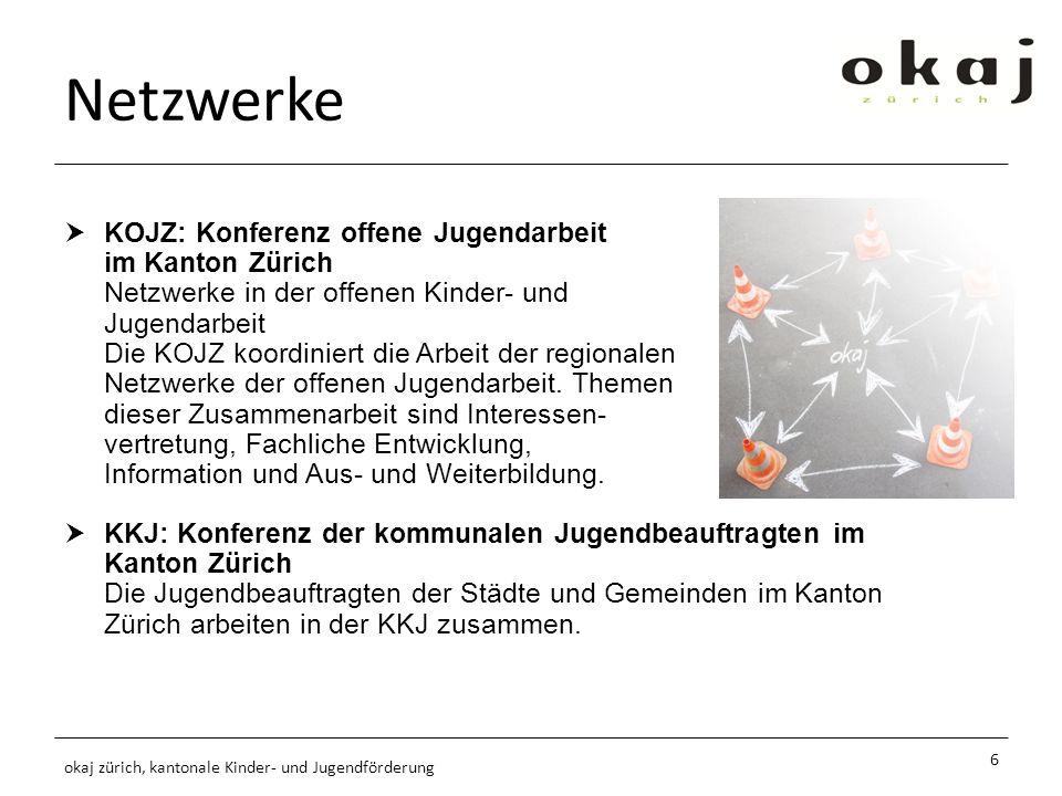 Netzwerke KOJZ: Konferenz offene Jugendarbeit im Kanton Zürich Netzwerke in der offenen Kinder- und Jugendarbeit Die KOJZ koordiniert die Arbeit der regionalen Netzwerke der offenen Jugendarbeit.
