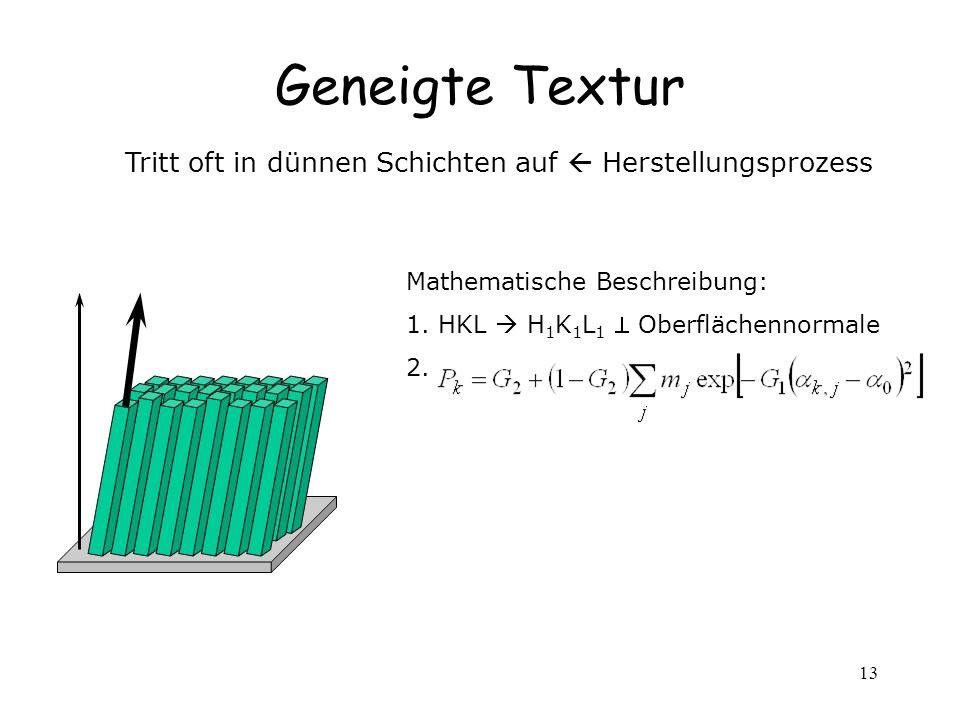 13 Geneigte Textur Tritt oft in dünnen Schichten auf Herstellungsprozess Mathematische Beschreibung: 1. HKL H 1 K 1 L 1 Oberflächennormale 2.