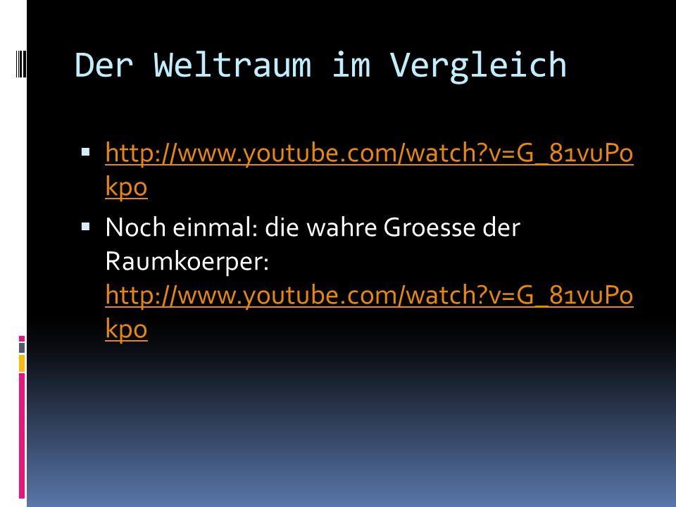 Der Weltraum im Vergleich http://www.youtube.com/watch?v=G_81vuPo kpo http://www.youtube.com/watch?v=G_81vuPo kpo Noch einmal: die wahre Groesse der R