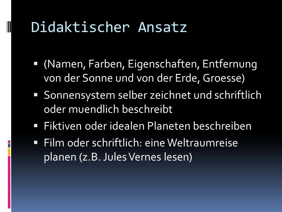 Didaktischer Ansatz (Namen, Farben, Eigenschaften, Entfernung von der Sonne und von der Erde, Groesse) Sonnensystem selber zeichnet und schriftlich od
