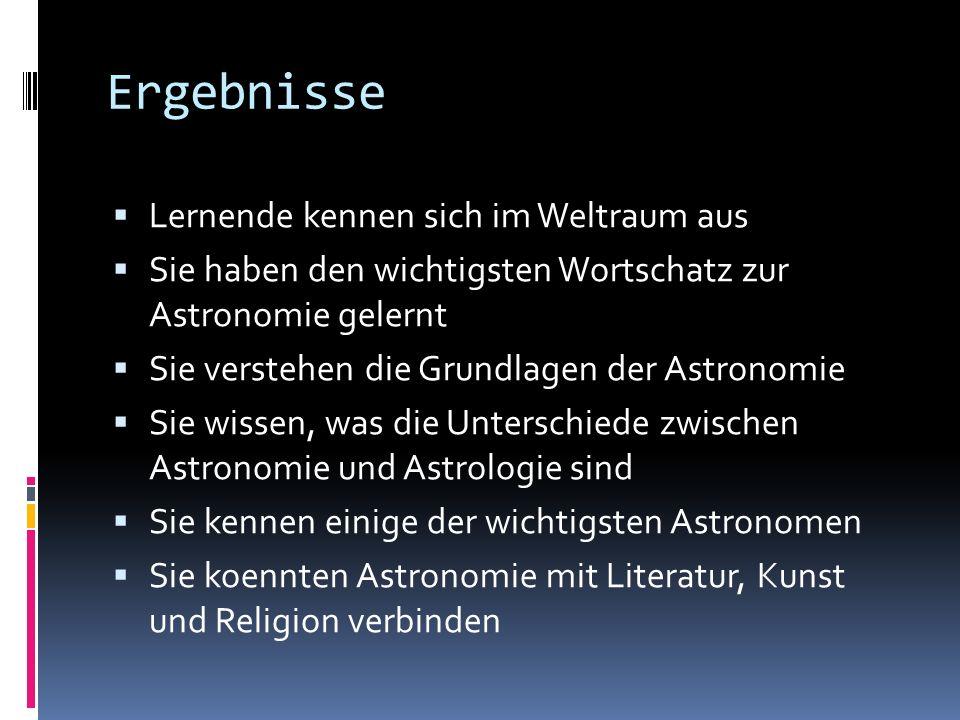 Ergebnisse Lernende kennen sich im Weltraum aus Sie haben den wichtigsten Wortschatz zur Astronomie gelernt Sie verstehen die Grundlagen der Astronomi