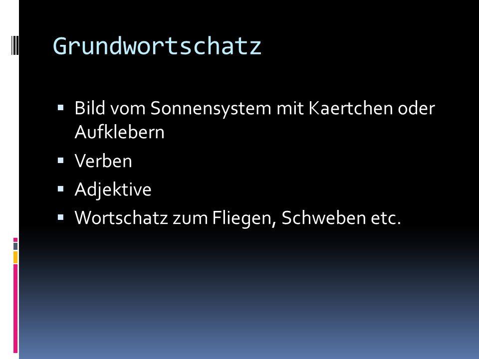 Grundwortschatz Bild vom Sonnensystem mit Kaertchen oder Aufklebern Verben Adjektive Wortschatz zum Fliegen, Schweben etc.