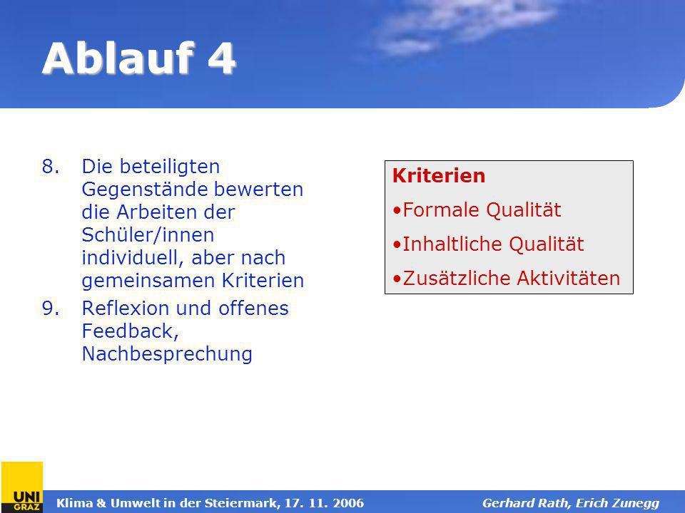 Klima & Umwelt in der Steiermark, 17. 11. 2006Gerhard Rath, Erich Zunegg Ablauf 4 8.Die beteiligten Gegenstände bewerten die Arbeiten der Schüler/inne