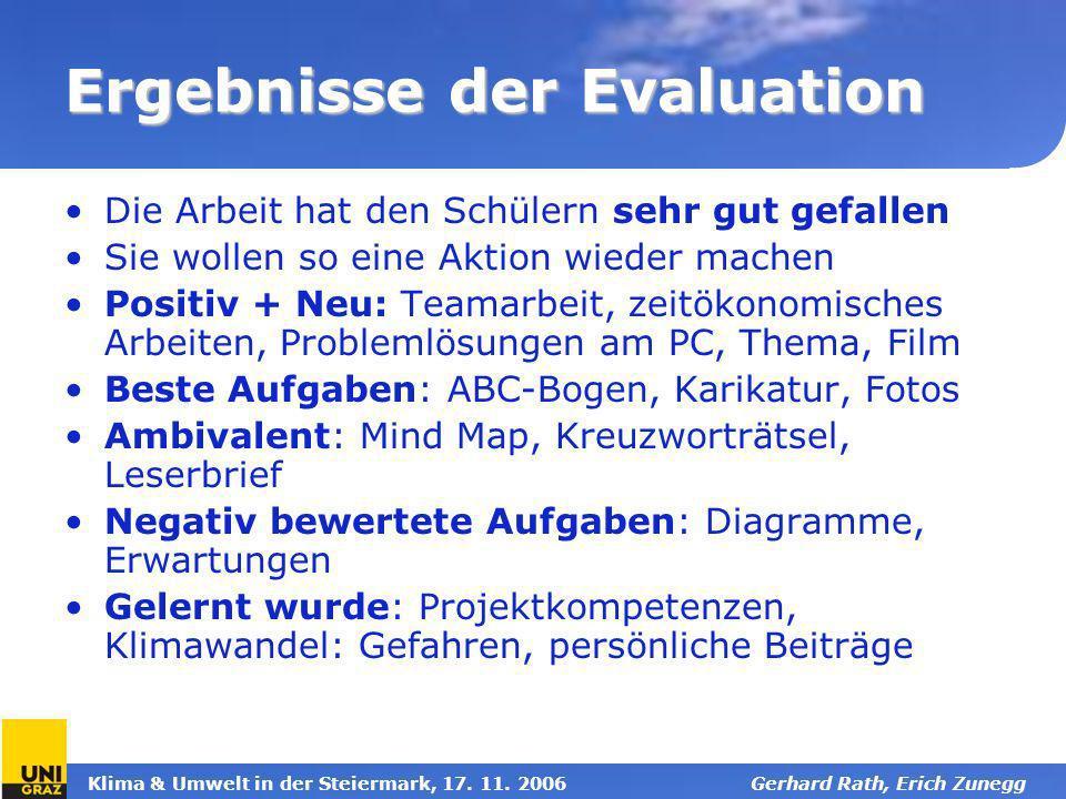 Klima & Umwelt in der Steiermark, 17. 11. 2006Gerhard Rath, Erich Zunegg Ergebnisse der Evaluation Die Arbeit hat den Schülern sehr gut gefallen Sie w