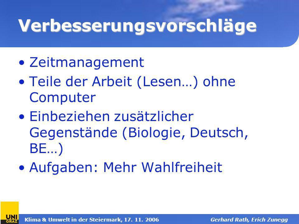 Klima & Umwelt in der Steiermark, 17. 11. 2006Gerhard Rath, Erich Zunegg Verbesserungsvorschläge Zeitmanagement Teile der Arbeit (Lesen…) ohne Compute
