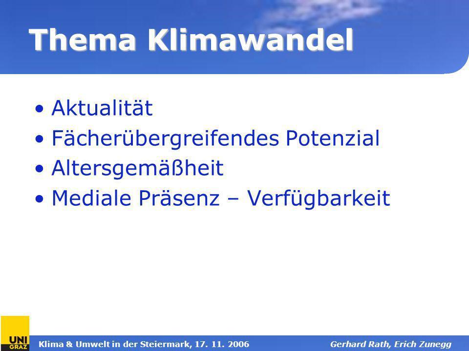 Klima & Umwelt in der Steiermark, 17. 11. 2006Gerhard Rath, Erich Zunegg Thema Klimawandel Aktualität Fächerübergreifendes Potenzial Altersgemäßheit M