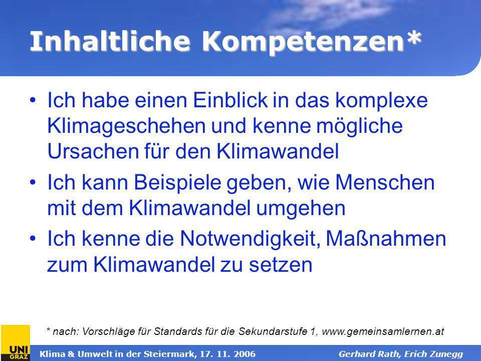 Klima & Umwelt in der Steiermark, 17. 11. 2006Gerhard Rath, Erich Zunegg Inhaltliche Kompetenzen* Ich habe einen Einblick in das komplexe Klimagescheh