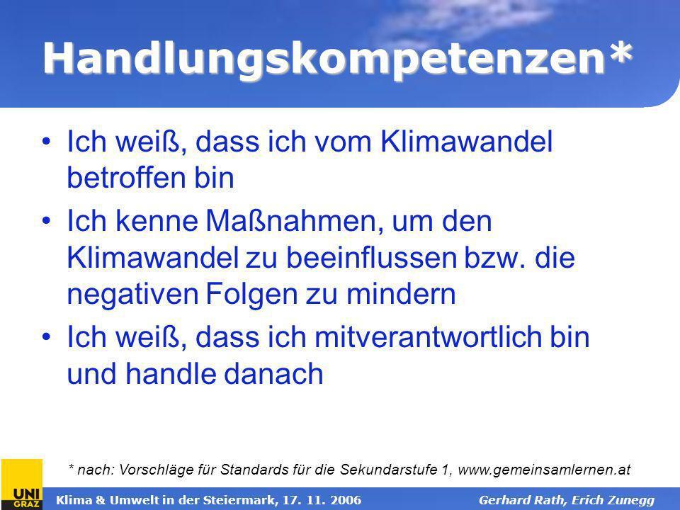 Klima & Umwelt in der Steiermark, 17. 11. 2006Gerhard Rath, Erich Zunegg Handlungskompetenzen* Ich weiß, dass ich vom Klimawandel betroffen bin Ich ke