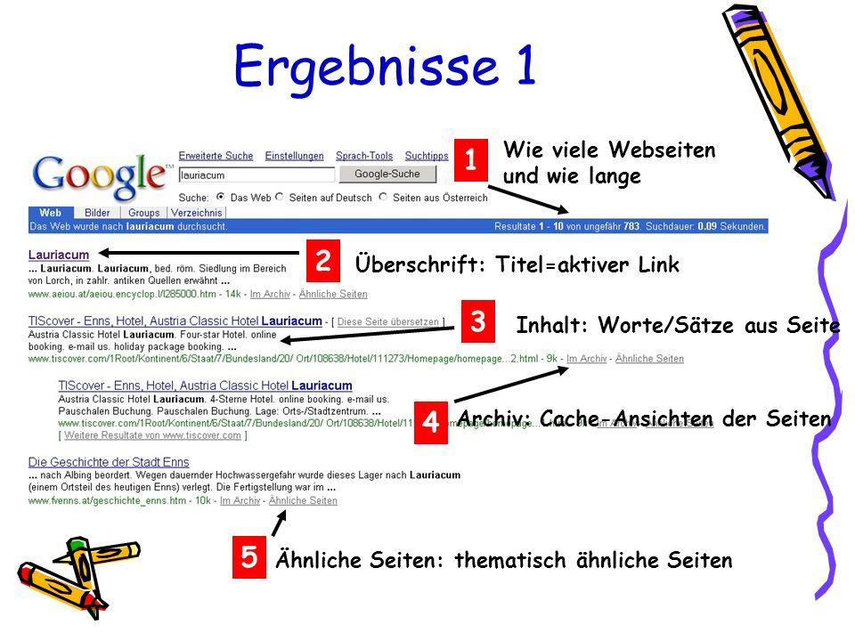Ergebnisse 1 1 Wie viele Webseiten und wie lange 2 Überschrift: Titel=aktiver LinkInhalt: Worte/Sätze aus Seite 3 4 Archiv: Cache-Ansichten der Seiten