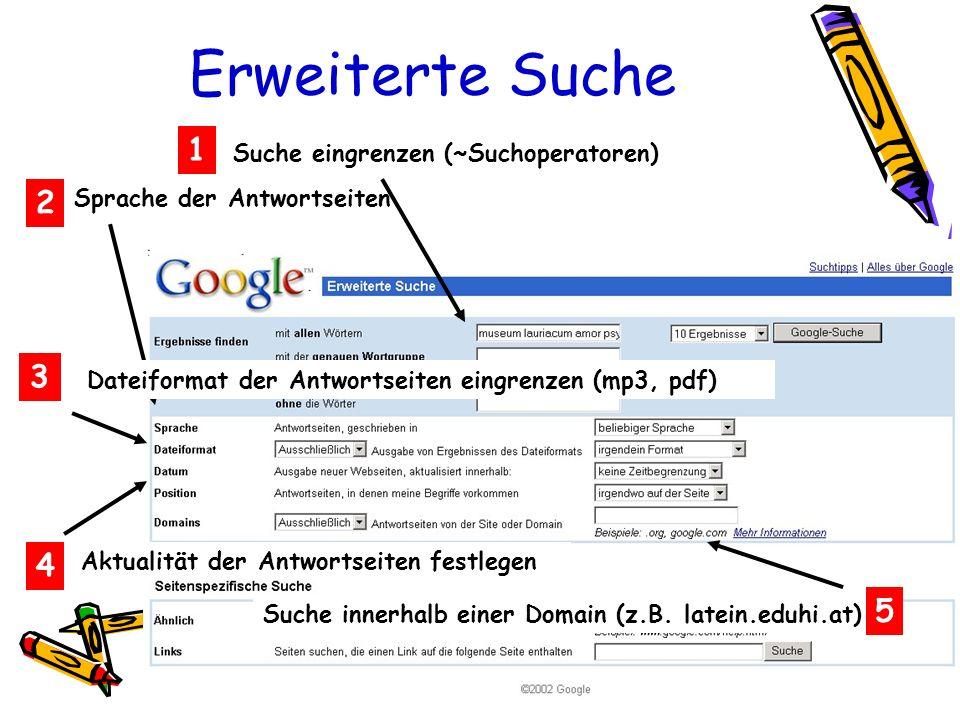 Erweiterte Suche 2 Klicken führt zu Originalbild und der Original-Webseite Suche eingrenzen (~Suchoperatoren) 1 2 Sprache der Antwortseiten 3 Dateifor