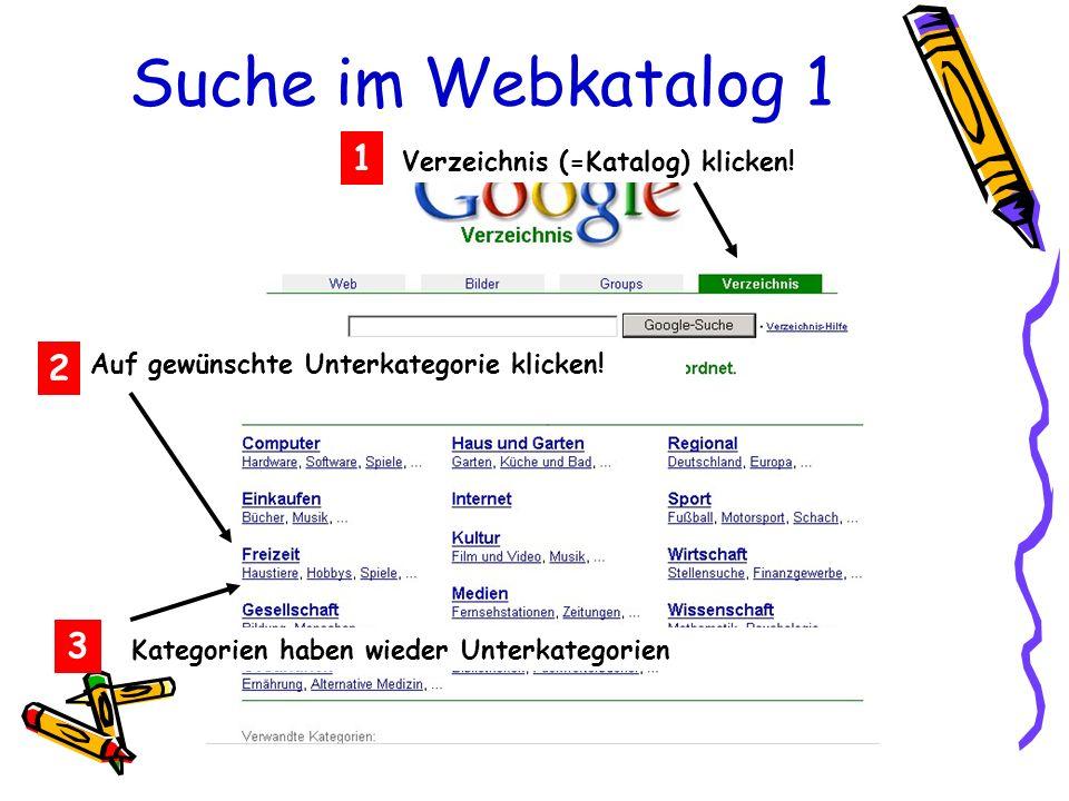 Suche im Webkatalog 1 Verzeichnis (=Katalog) klicken! 1 2 Auf gewünschte Unterkategorie klicken! 3 Kategorien haben wieder Unterkategorien