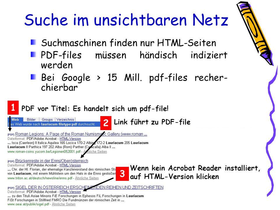 Suche im unsichtbaren Netz PDF vor Titel: Es handelt sich um pdf-file! 1 2 Link führt zu PDF-file Suchmaschinen finden nur HTML-Seiten PDF-files müsse