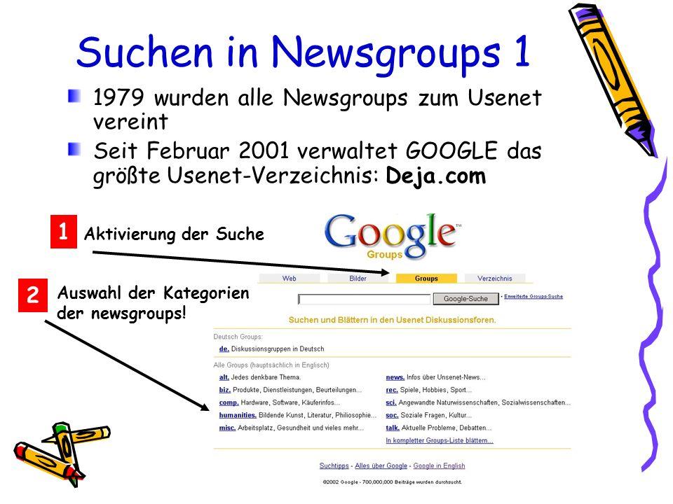 Suchen in Newsgroups 1 Aktivierung der Suche 1 2 Auswahl der Kategorien der newsgroups! 1979 wurden alle Newsgroups zum Usenet vereint Seit Februar 20