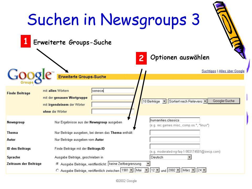 Suchen in Newsgroups 3 Erweiterte Groups-Suche 1 2 Optionen auswählen