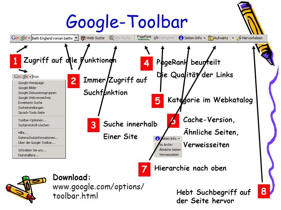 Google-Toolbar Zugriff auf alle Funktionen 1 Immer Zugriff auf Suchfunktion 2 Suche innerhalb Einer Site 3 PageRank beurteilt Die Qualität der Links 4