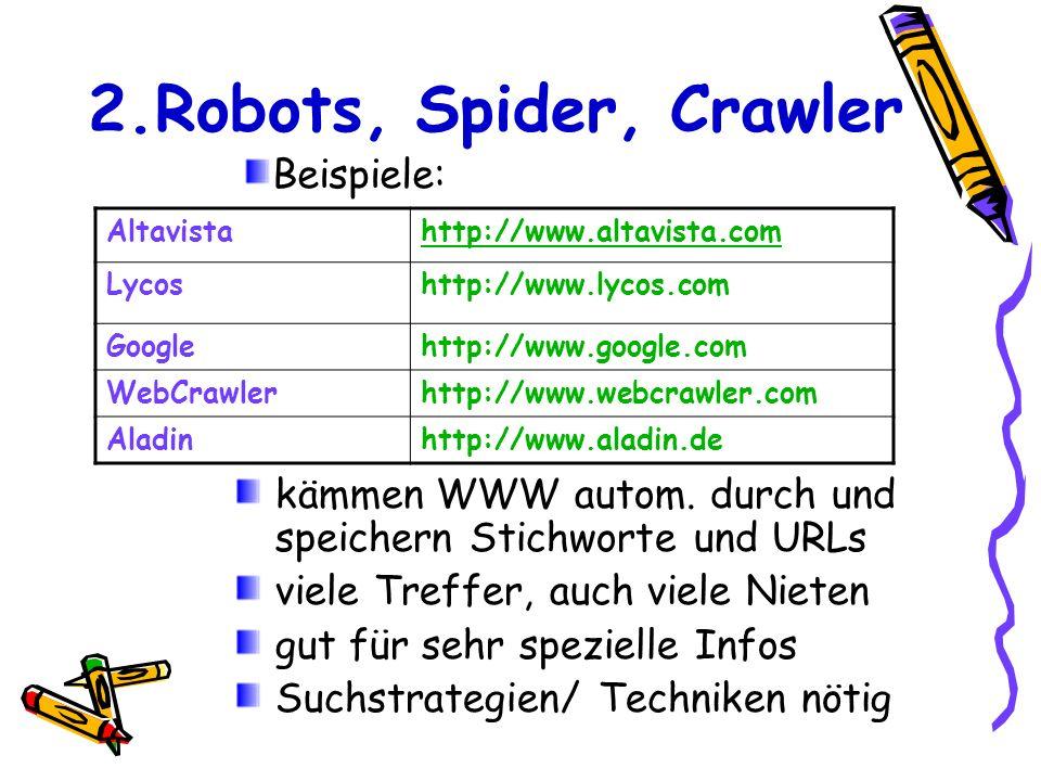2.Robots, Spider, Crawler kämmen WWW autom. durch und speichern Stichworte und URLs viele Treffer, auch viele Nieten gut für sehr spezielle Infos Such