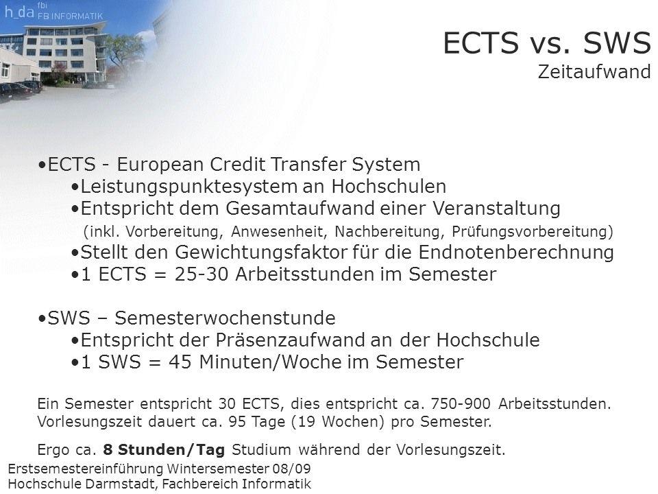 Erstsemestereinführung Wintersemester 08/09 Hochschule Darmstadt, Fachbereich Informatik ECTS - European Credit Transfer System Leistungspunktesystem an Hochschulen Entspricht dem Gesamtaufwand einer Veranstaltung (inkl.