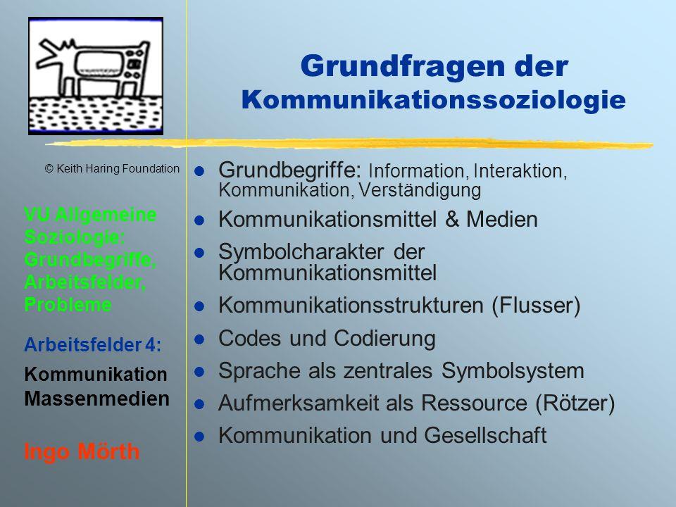 © Keith Haring Foundation VU Allgemeine Soziologie: Grundbegriffe, Arbeitsfelder, Probleme Arbeitsfelder 4: Kommunikation Massenmedien Ingo Mörth Kommunikationsmodelle & -analysen l Grundmodell d.