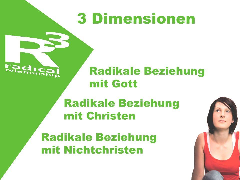 3 Dimensionen Radikale Beziehung mit Gott Radikale Beziehung mit Christen Radikale Beziehung mit Nichtchristen
