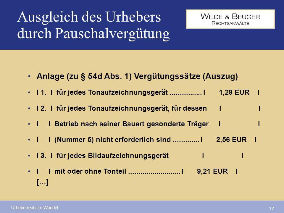 Urheberrecht im Wandel 17 Ausgleich des Urhebers durch Pauschalvergütung Anlage (zu § 54d Abs. 1) Vergütungssätze (Auszug) I 1. I für jedes Tonaufzeic