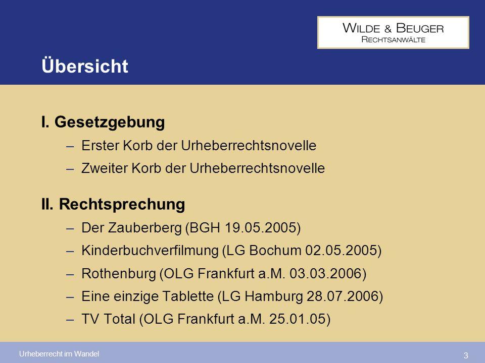 Urheberrecht im Wandel 34 Fundstellen:nicht veröffentlicht Red.