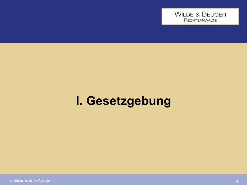 Urheberrecht im Wandel 5 Ziel: Umsetzung der zwingenden Vorschriften der sog.
