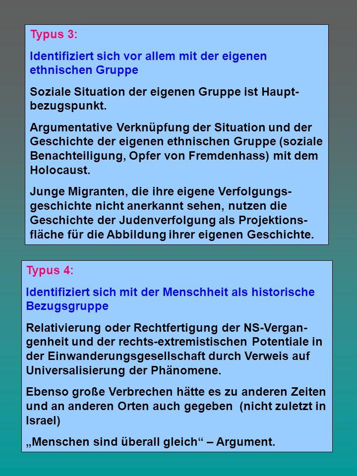 Typus 3: Identifiziert sich vor allem mit der eigenen ethnischen Gruppe Soziale Situation der eigenen Gruppe ist Haupt- bezugspunkt. Argumentative Ver