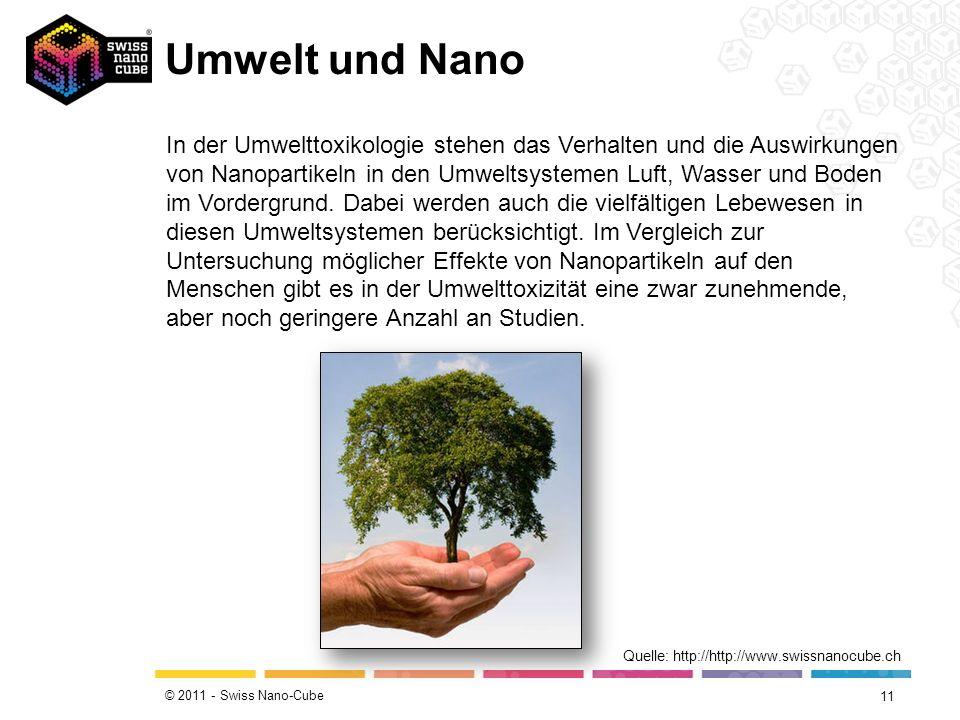 © 2011 - Swiss Nano-Cube Nanopartikel und Gesundheit am Arbeitsplatz 10 Quelle: http://www.youtube.com/ In der Schweiz ist die Schweizerische Unfallversicherungsanstalt (Suva) für die Vermeidung von Berufskrankheiten in den Betrieben zuständig.