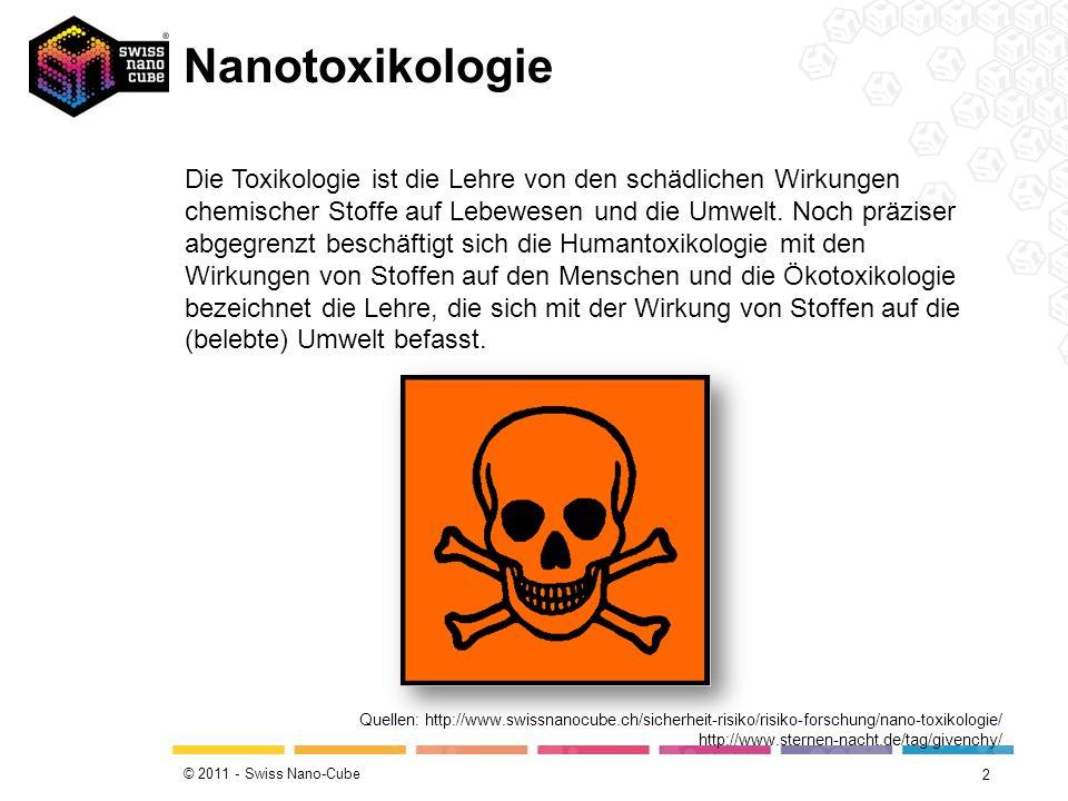 © 2011 - Swiss Nano-Cube Nanotoxikologie 2 Quellen: http://www.swissnanocube.ch/sicherheit-risiko/risiko-forschung/nano-toxikologie/ http://www.sternen-nacht.de/tag/givenchy/ Die Toxikologie ist die Lehre von den schädlichen Wirkungen chemischer Stoffe auf Lebewesen und die Umwelt.