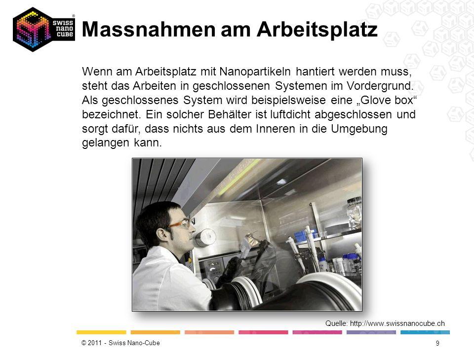 © 2011 - Swiss Nano-Cube Massnahmen am Arbeitsplatz 9 Quelle: http://www.swissnanocube.ch Wenn am Arbeitsplatz mit Nanopartikeln hantiert werden muss, steht das Arbeiten in geschlossenen Systemen im Vordergrund.