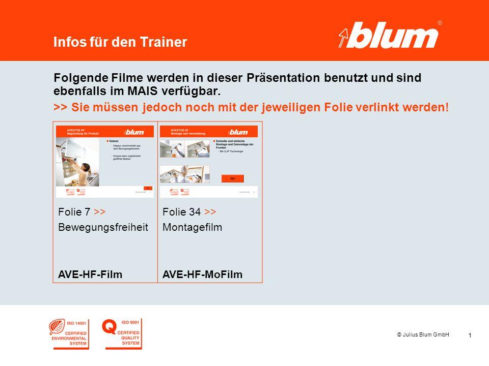 1 © Julius Blum GmbH Infos für den Trainer Folgende Filme werden in dieser Präsentation benutzt und sind ebenfalls im MAIS verfügbar. >> Sie müssen je