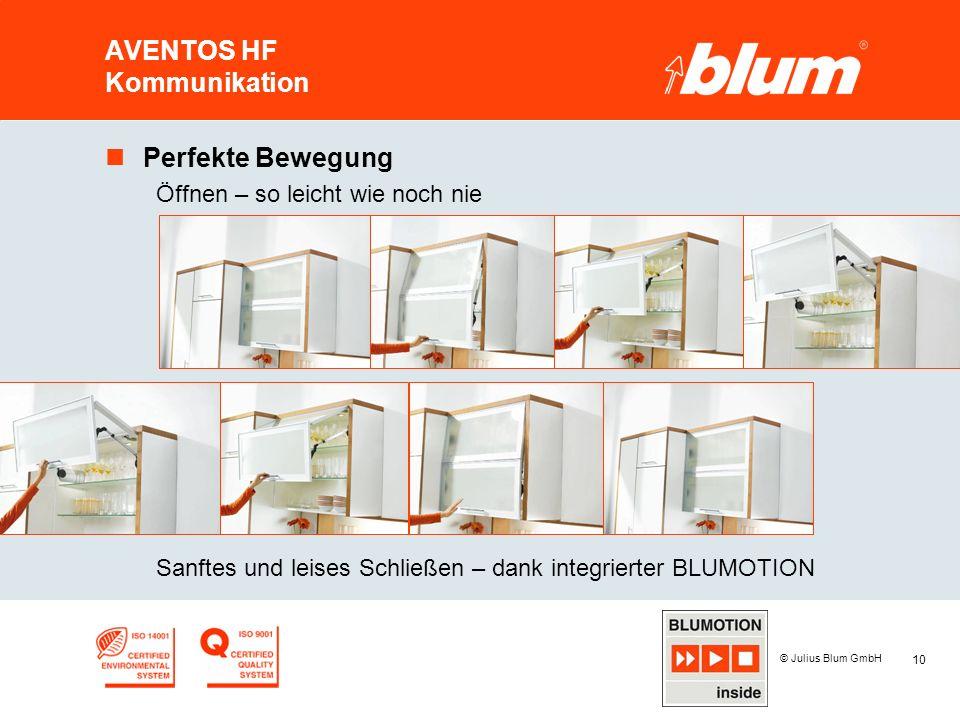 10 © Julius Blum GmbH AVENTOS HF Kommunikation nPerfekte Bewegung Öffnen – so leicht wie noch nie Sanftes und leises Schließen – dank integrierter BLU