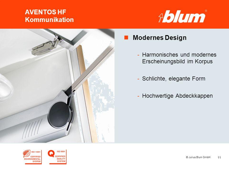 11 © Julius Blum GmbH AVENTOS HF Kommunikation nModernes Design -Harmonisches und modernes Erscheinungsbild im Korpus -Schlichte, elegante Form -Hochw