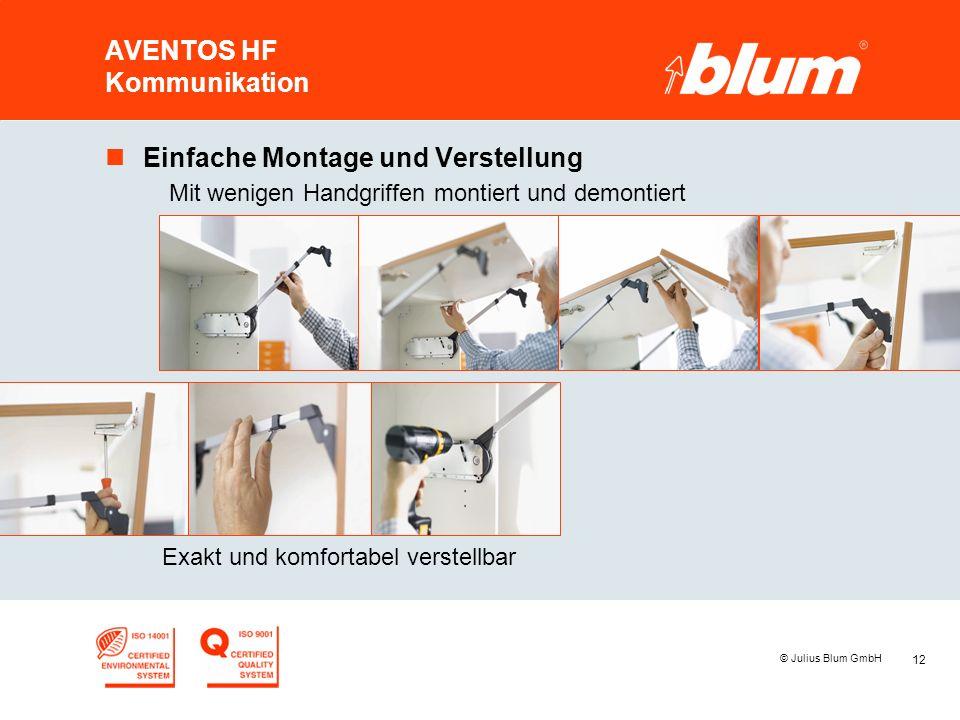 12 © Julius Blum GmbH AVENTOS HF Kommunikation nEinfache Montage und Verstellung Mit wenigen Handgriffen montiert und demontiert Exakt und komfortabel