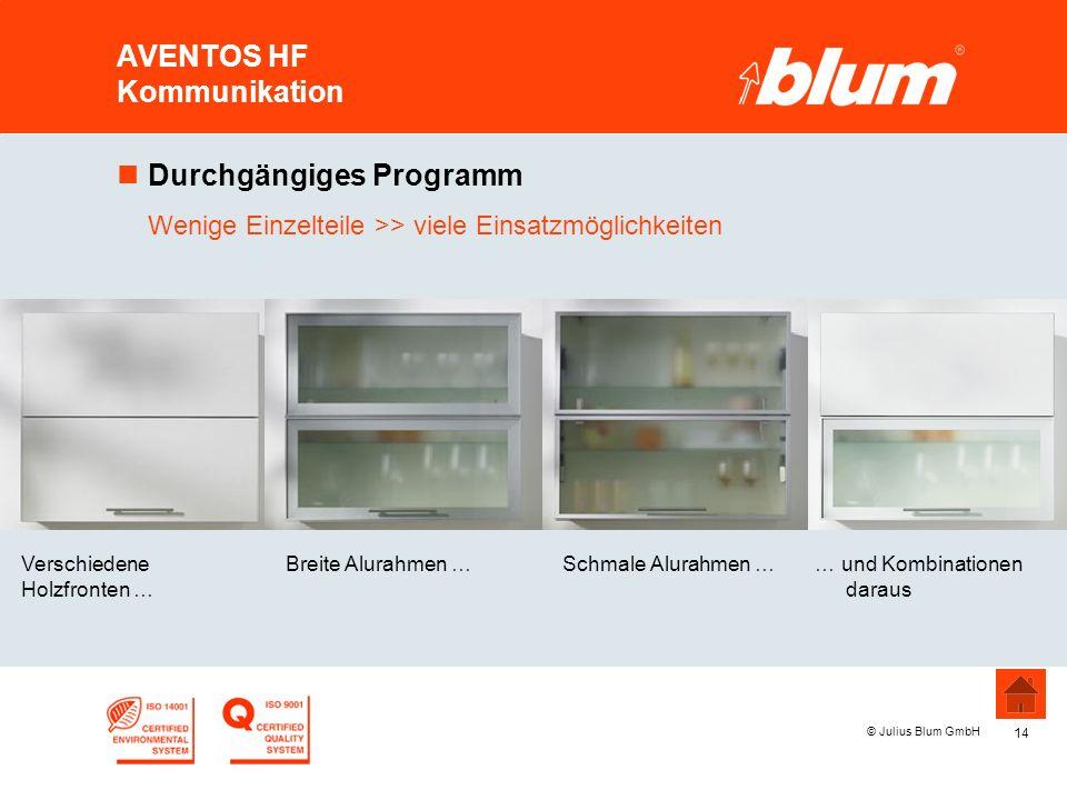 14 © Julius Blum GmbH AVENTOS HF Kommunikation Breite Alurahmen …Verschiedene Holzfronten … Schmale Alurahmen … nDurchgängiges Programm Wenige Einzelt