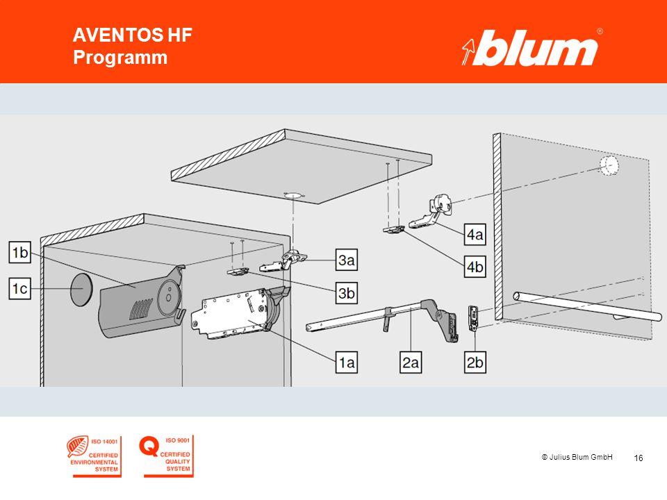 16 © Julius Blum GmbH AVENTOS HF Programm