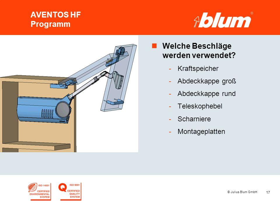 17 © Julius Blum GmbH AVENTOS HF Programm nWelche Beschläge werden verwendet? -Kraftspeicher -Abdeckkappe groß -Abdeckkappe rund -Teleskophebel -Schar