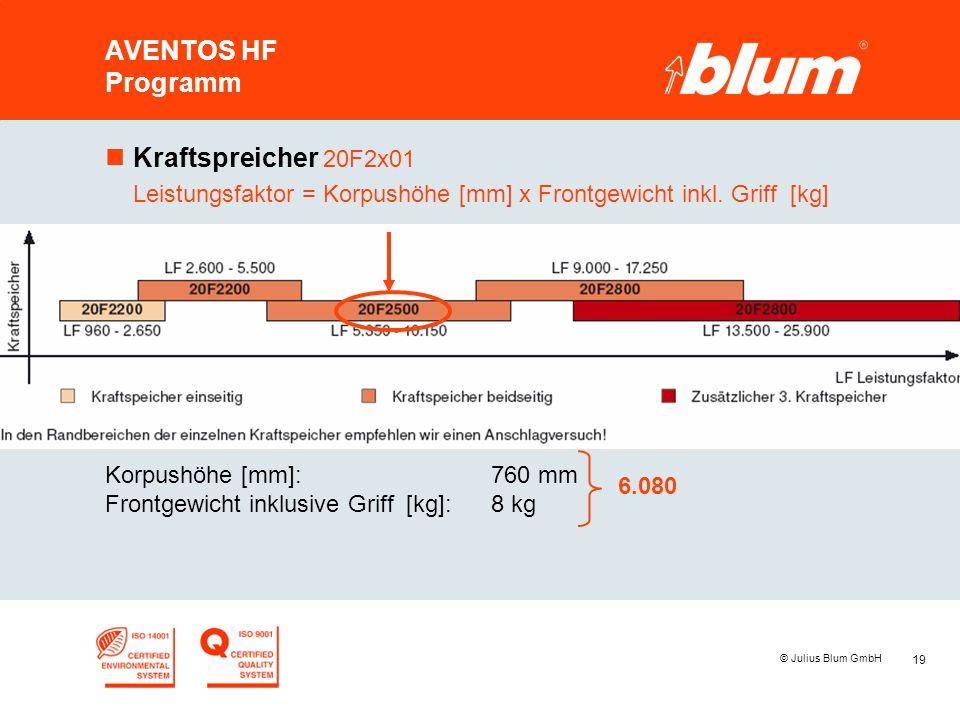 19 © Julius Blum GmbH AVENTOS HF Programm nKraftspreicher 20F2x01 Leistungsfaktor = Korpushöhe [mm] x Frontgewicht inkl. Griff [kg] Korpushöhe [mm]:76