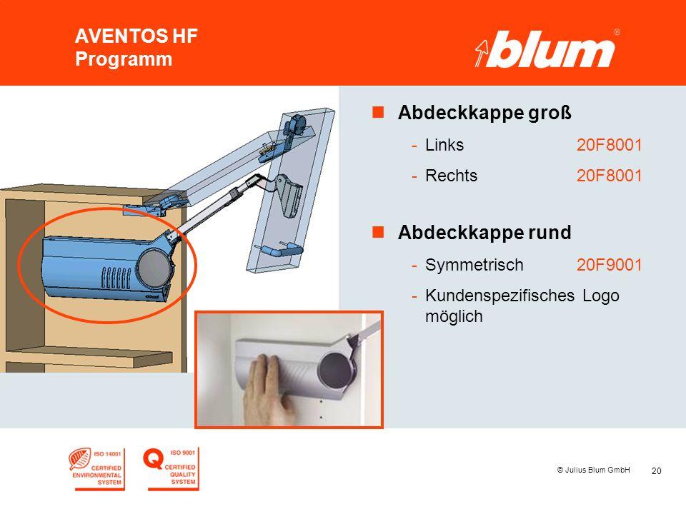 20 © Julius Blum GmbH AVENTOS HF Programm nAbdeckkappe groß -Links20F8001 -Rechts20F8001 nAbdeckkappe rund -Symmetrisch20F9001 -Kundenspezifisches Log