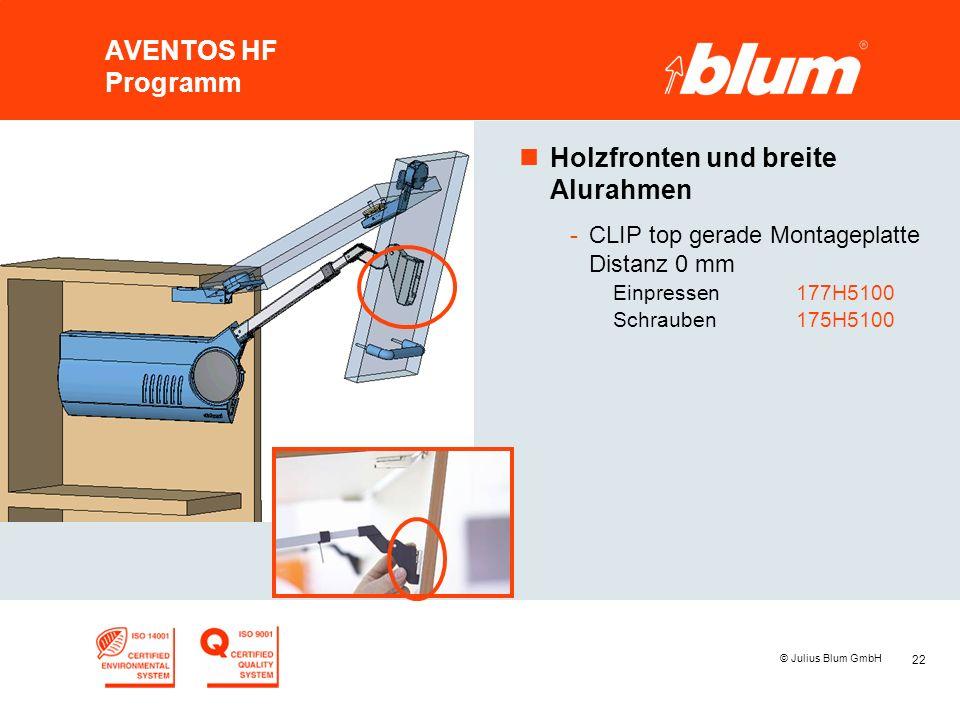 22 © Julius Blum GmbH AVENTOS HF Programm nHolzfronten und breite Alurahmen -CLIP top gerade Montageplatte Distanz 0 mm Einpressen177H5100 Schrauben17